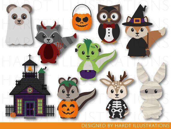Halloween Woodland Animals Clipart Halloween Clip Art Etsy Halloween Clips Halloween Clipart Woodland Animals Clipart