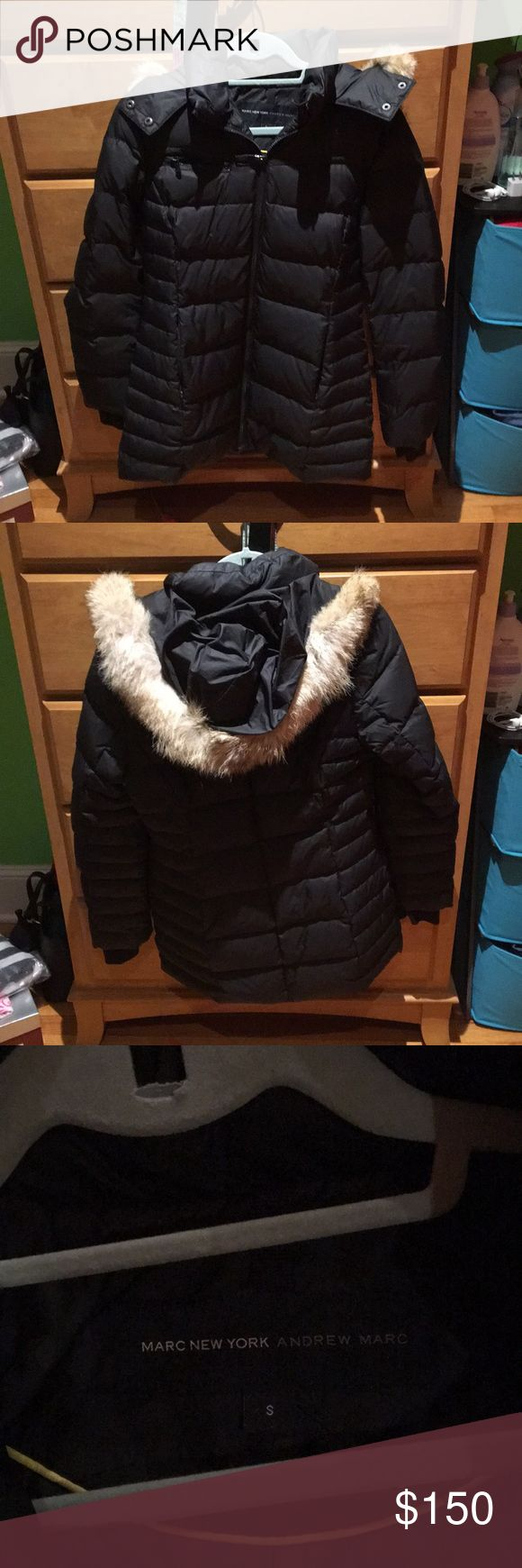 Andrew Marc Marc New York Fur Down Coat Andrew Marc Marc New York Fur Down Coat -removable hood -BRAND NEW condition -black Andrew Marc Jackets & Coats