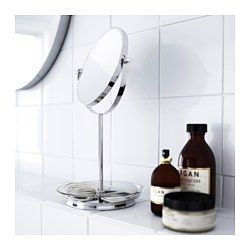 IKEA - BALUNGEN, Mirror, , One side with magnifying mirror.You can use the knobs on the side of the mirror or the glass plate underneath to store your jewelry.Small, hidden plastic feet at the base keep the mirror in place, while protecting your sink from scratches.Suitable for use in high humidity areas since it is water-resistant.