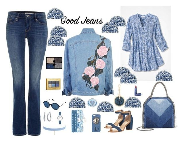 """""""Jeans and flowers"""" by fernandaalmeida-1 ❤ liked on Polyvore featuring Levi's, Neiman Marcus, Diesel, STELLA McCARTNEY, Chiara Ferragni, Oliver Peoples, Jules Smith, Nine West, Michael Kors and Sisley"""