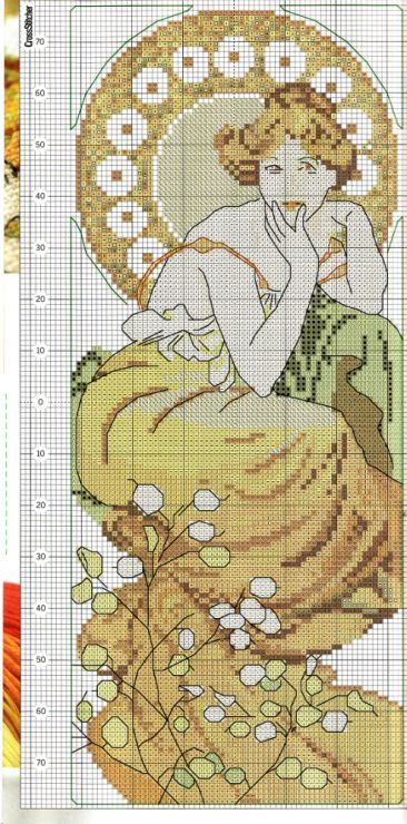 Borduurpatroon Kruissteek Mucha *Embroidery Cross Stitch Pattern ~The Precious Stones: Topaz (1900) en Emerald 1/2~