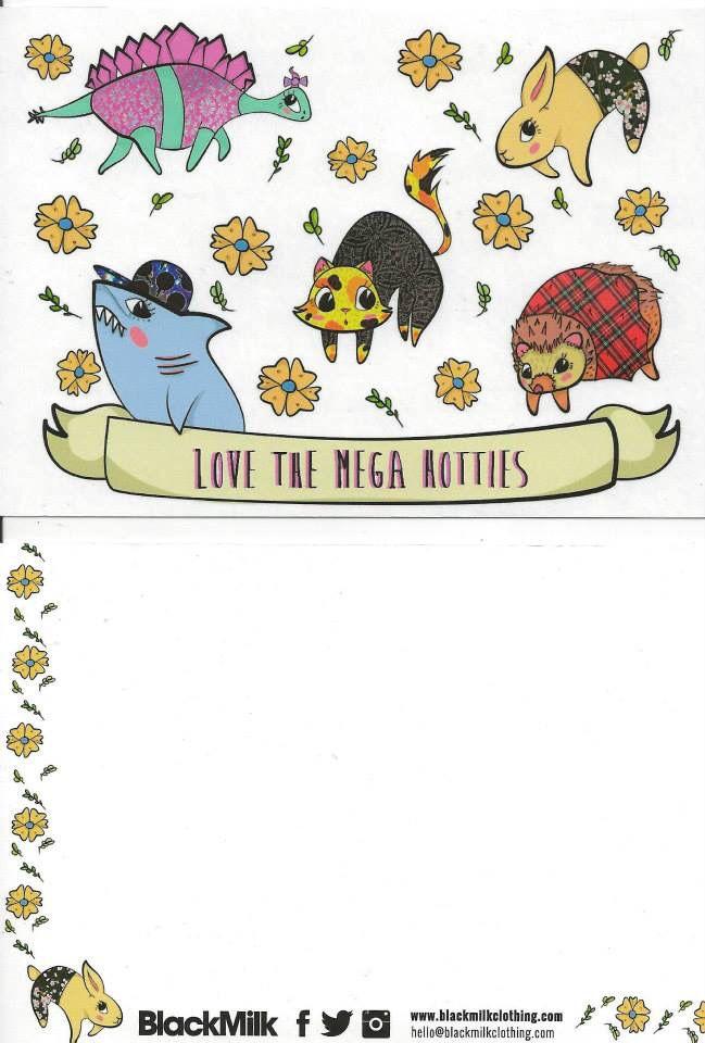Mega Hotties Customer Service Postcard