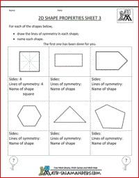 2D Shape properties, 2d shape sheet to identify lines of symmetry