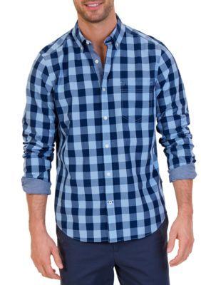 Nautica Men's Classic Fit Large Check Shirt - Linen Blue - 2Xl