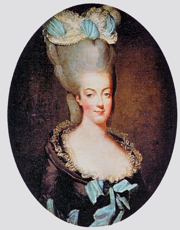 """Marie wearing a """"decadent"""" coiffure by"""