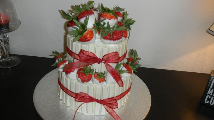 Strawberry Cake Cream Cheese Frosting Covered In White