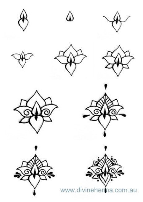 Divine Henna Step by Step Lotus and other henna designs. (Diy Step Patterns)