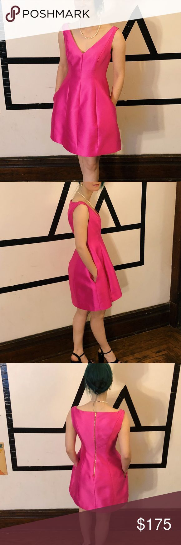 """Kate Spade Fit n Flare Cocktail Dredd Hot pink formal/cocktail dress with pockets! Also has bra strap holder on shoulders. Hem is finished with lace and the sheath under the dress is tacked down so it won't ride up. It's a 00, but I normally wear a 0 in most dress brands (Banana Republic, Calvin Klein). I'm 5'1"""" so the dress may be shorter on you if you're taller.  Beautiful, quality dress that is simple but will get you noticed! kate spade Dresses Mini"""