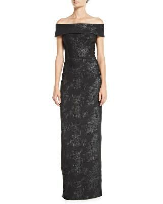 38d80ed8d43 Rickie Freeman for Teri Jon Designer Off-the-Shoulder Jacquard Column Gown