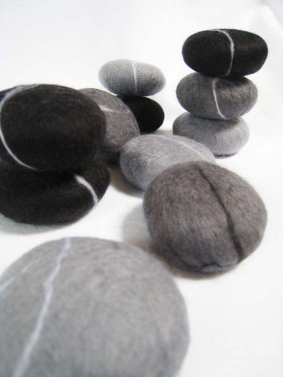 Felted Soap Pebble Stone Set of 3