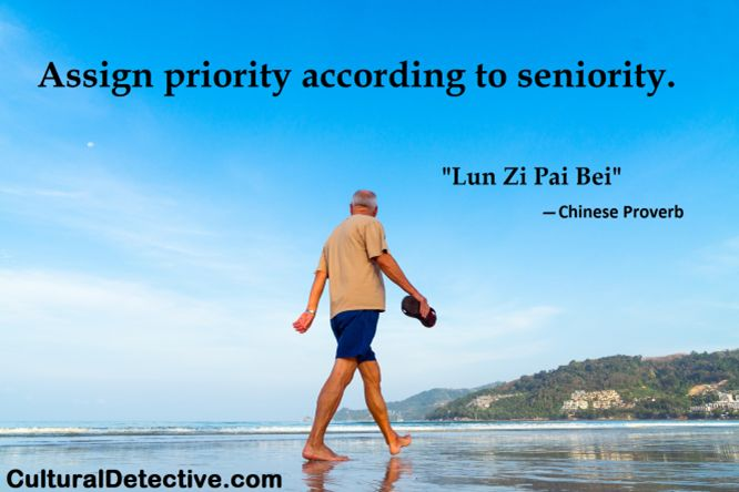 """""""Assign priority according to seniority."""" #Chinese #Proverb Learn more about #cultural context by subscribing to #CulturalDetective! #leader #team #global #effectiveness"""