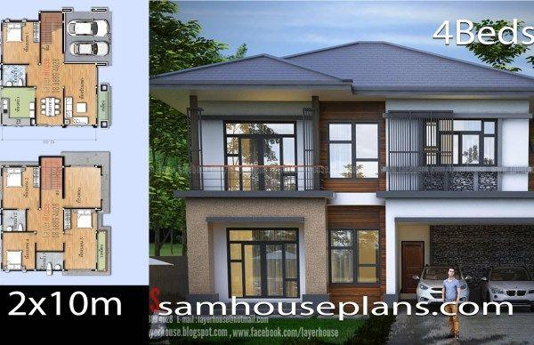 House Design Idea 7x10 5 With 4 Bedrooms 2 Storey House Design House Plans Luxury Floor Plans