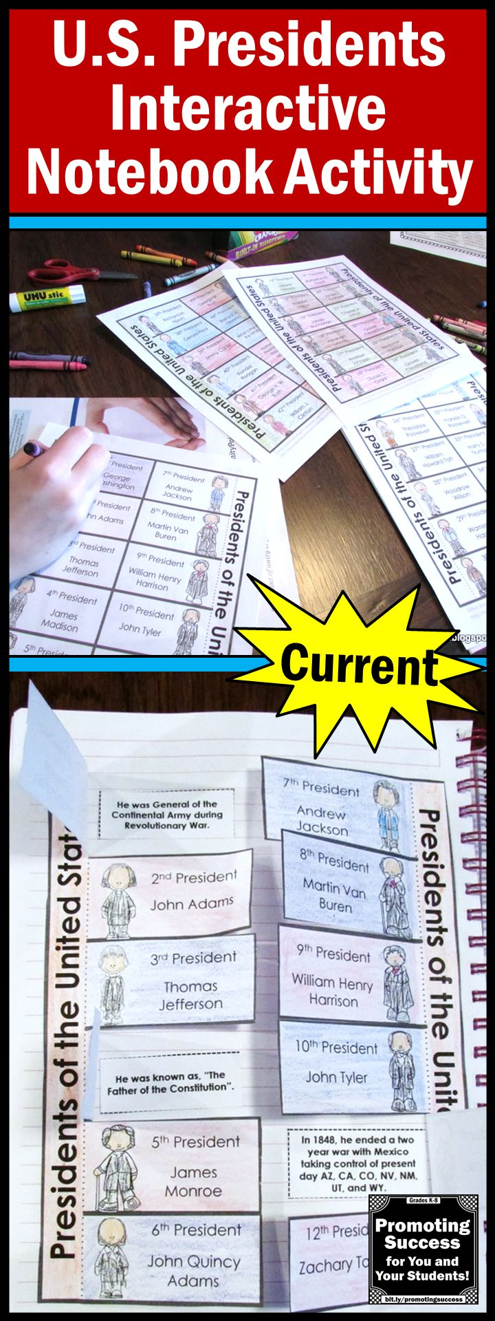 Presidents Day Activities: In this foldable craftivity, students will match facts to each President of the United States. This may also be used in a social studies interactive notebook. It works well for 5th grade, 6th grade, 7th grade, middle school, ESL and special education students as a review or test prep.