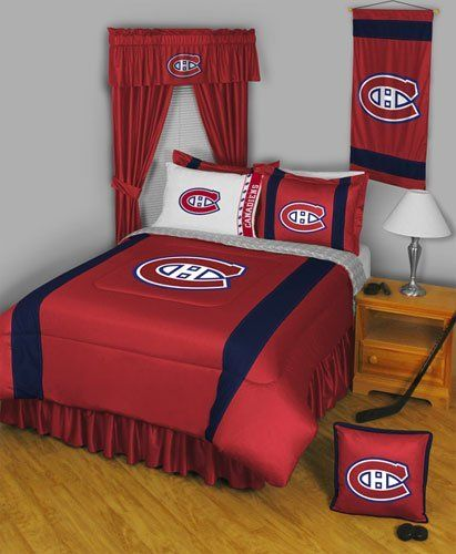 NHL Montreal Canadiens - 5 Piece Bedding Set - Sports - Hockey Full/Double by store51. $128.94. Pattern: NHL Montreal Canadiens.. One full flat bed sheet, finished size 81 x 96 inches (206 x 244 cm). One full fitted bed sheet.. Two standard pillowcases (the white ones in the picture), each fit 20 x 26 inch (51 x 66 cm) pillows.. Genuine licensed merchandise. Machine washable.. One full/queen size comforter 86 x 86 inches (193 cm x 218 cm).. Pattern: NHL Montreal Canadien...