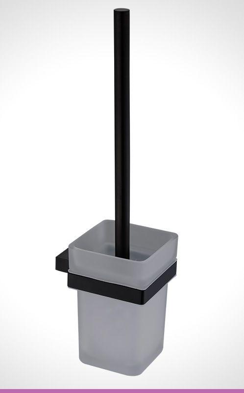 Vivace matte black toilet brush and holder
