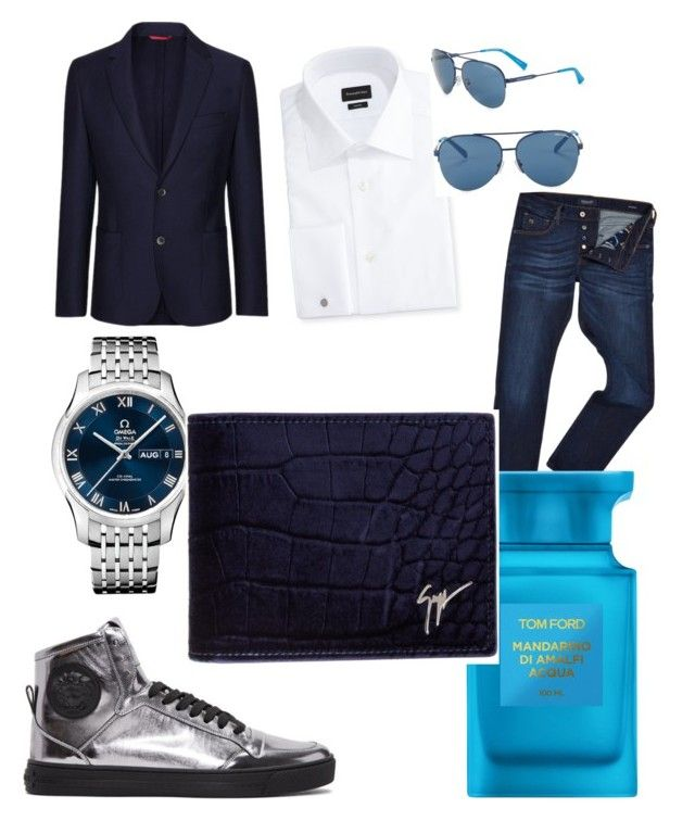 """""""dressy casual date night outfit #1 for men"""" by david-arthur-welker on Polyvore featuring Scotch & Soda, Ermenegildo Zegna, OMEGA, FAY, Armani Exchange, Versace, Tom Ford, Giuseppe Zanotti, men's fashion and menswear"""
