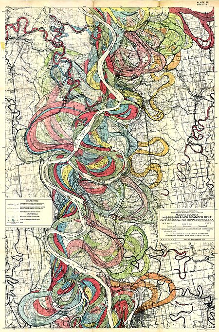 Courses of the Mississippi over the years. Beautiful as a graphic, fascinating as information.