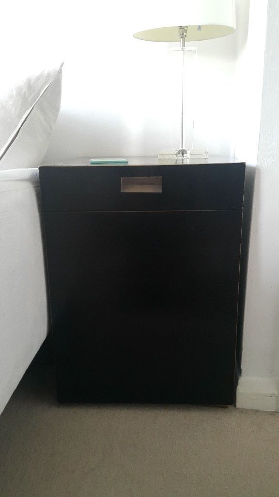 Beautiful Black Lacquer Wooden Unit With Red Interior. This One Of A Kind  Piece Has A Top Drawer