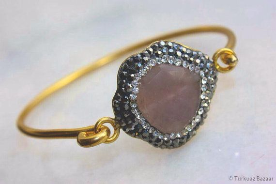 Nurgul Bangle in Rose Quartz & Swarovski Crystals by TurkuazBazaar, $80.00