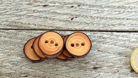 Wood Buttons 6 handmade red Pine tree branch by forestinspiration, $7.50