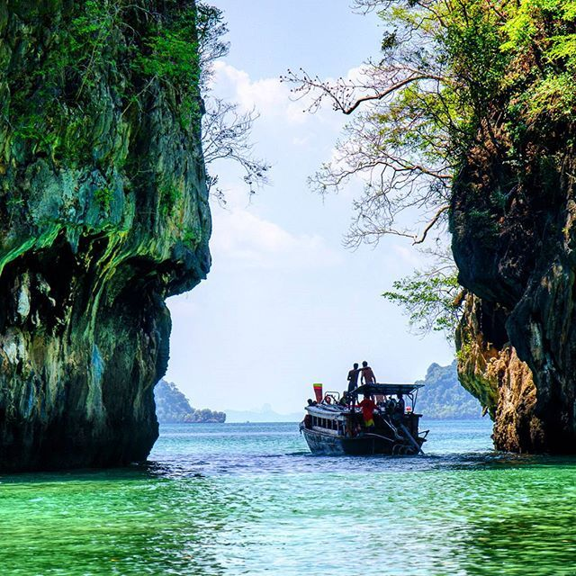 Looking out at the Andaman Sea from within the stunning Hong Island Lagoon in #Phangnga #Thailand   #KohHong #HongIsland #Lagoon #Sea #Beautiful #Thai #Boat #Travel