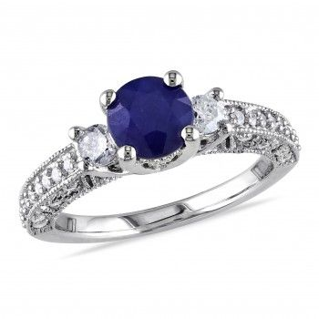 14k White Gold 1-1/10 Carat T.G.W. Diffused Sapphire and 1/2 Carat T.W. Diamond Three-Stone Engagement Ring - Sapphire (September) - Gemstones - by Samuels Jewelers