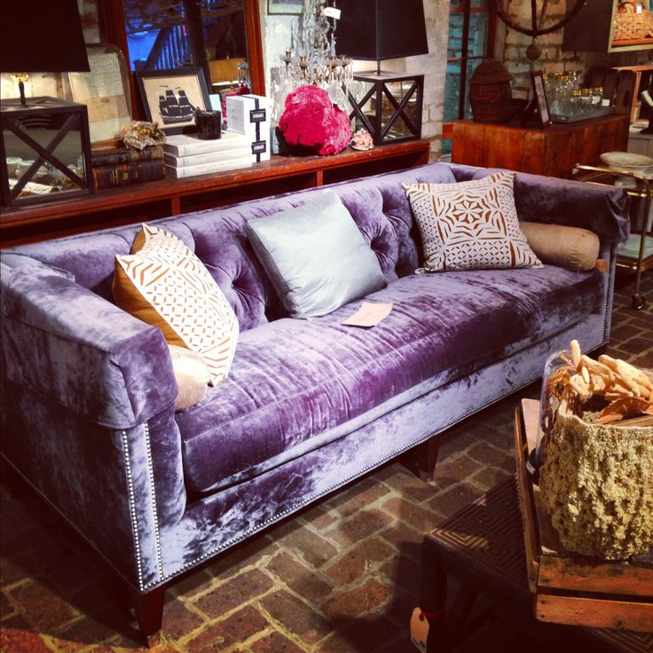 A Purple velvet couch is fabulous! Soft peaches/ periwinkle and oranges look…