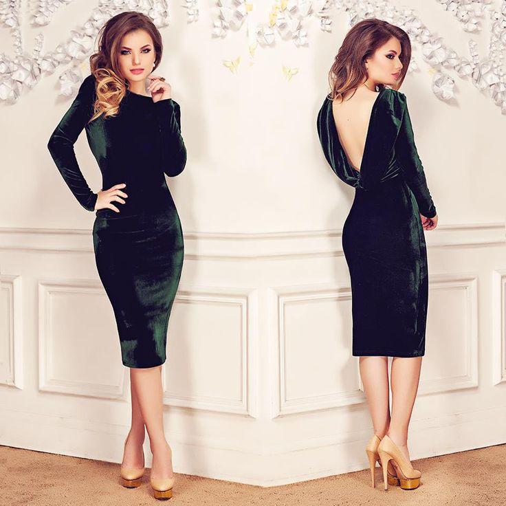 Midi velvet dress with backless deisgn in emerald shades:https://missgrey.org/en/dresses/irissa-emerald-dress/256