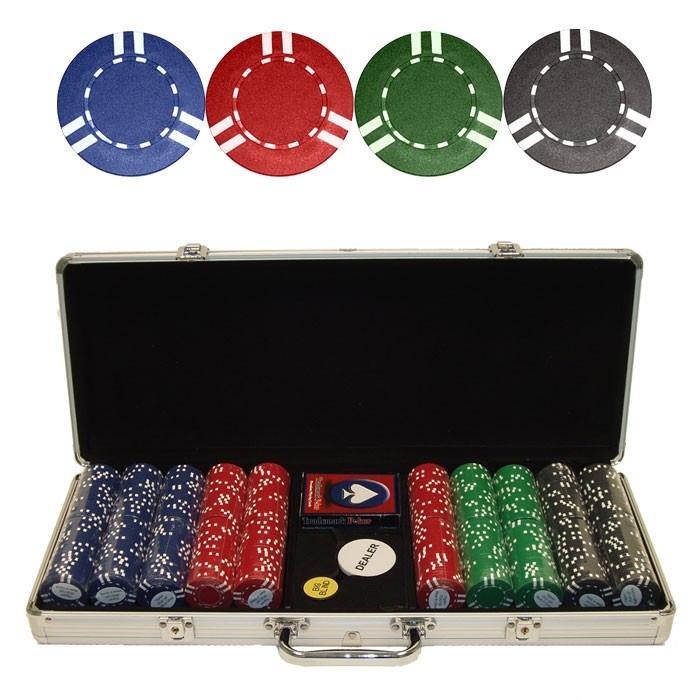 500 Soprano Striped 10g Clay Poker Chips w/Aluminum Case