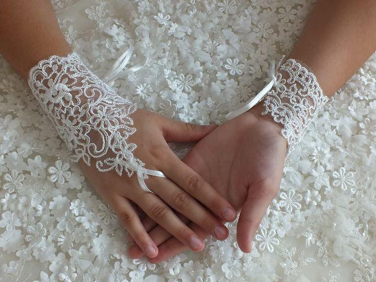 Nuziale guanto, guanti di pizzo avorio, Guanti senza dita, : Mezziguanti, guanti di weddingstore