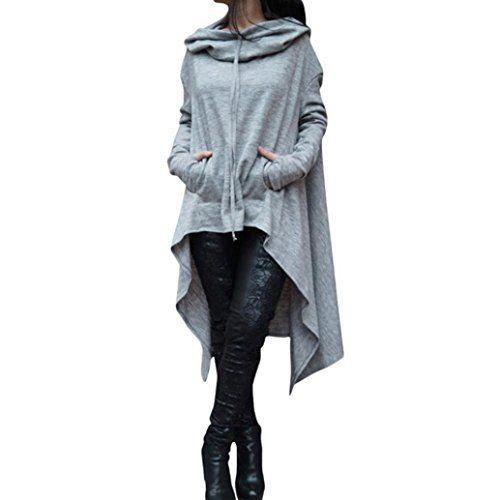 Reaso Femmes Hoodie Sweatshirt Cardigan Mode Manteau Blouson Loose Tunique Long À capuche Tops Elegant Pull Casual Gilet Asymétrique Coton…