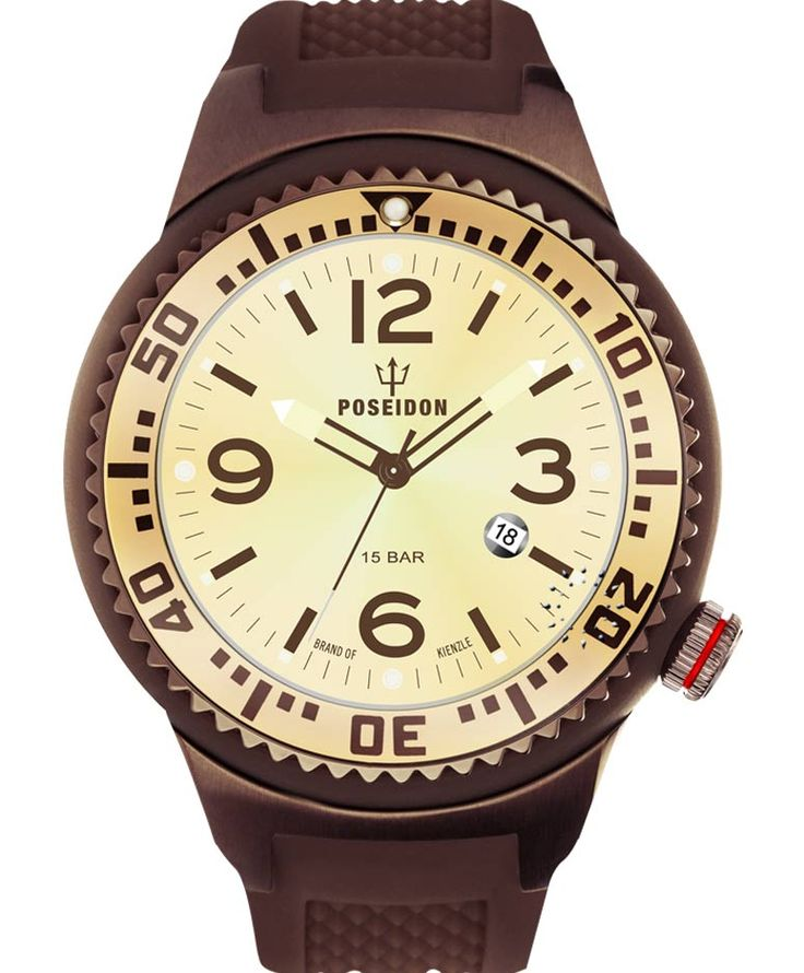 KIENZLE POSEIDON XXL Slim Brown Silicone Strap Τιμή: 139€ http://www.oroloi.gr/product_info.php?products_id=34114