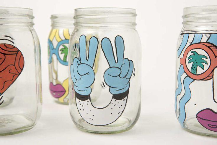Tarros de cristal pintados a mano para Starbucks