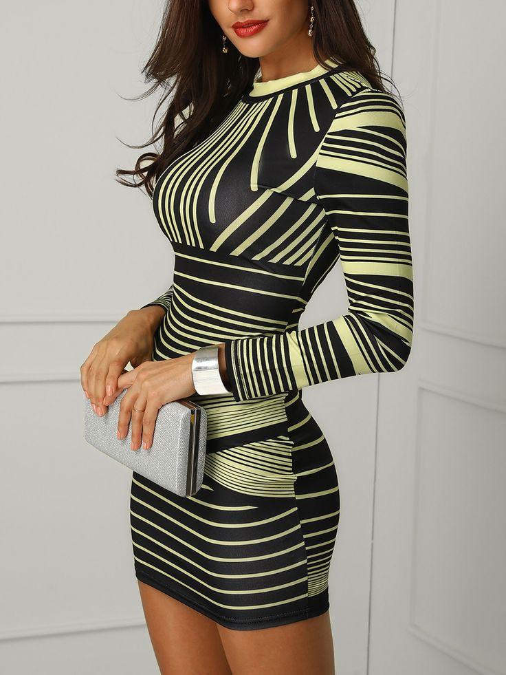 Shop Bodycon Contrast Striped Long Sleeve Bodycon Dress