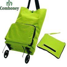 Bolso de compras plegable para mujeres del punto de polca del bolso del carro de compras carro de supermercado bolsas…