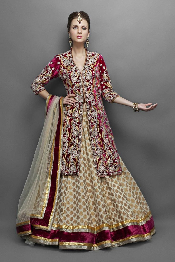 Cream Georgette Lehenga Paired with Wine Velvet Jacket- Front