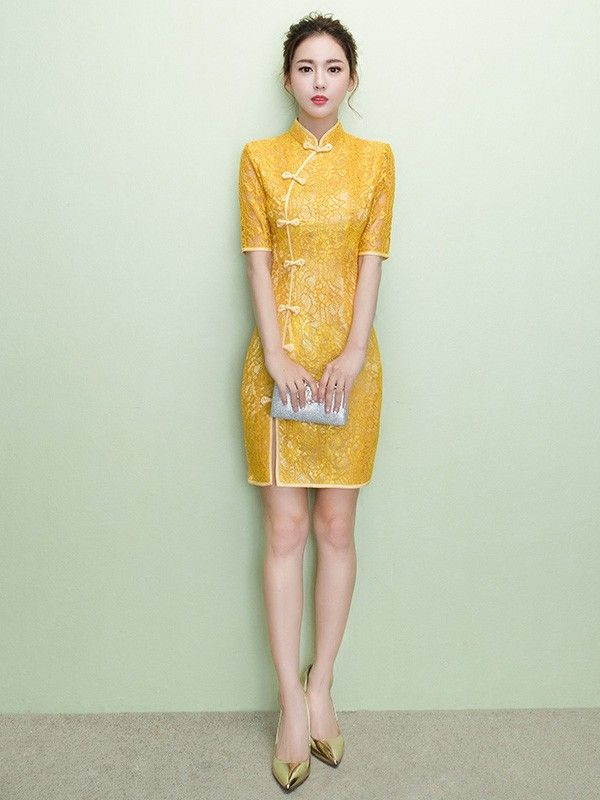 Golden Yellow Lace Qipao / Cheongsam Dress