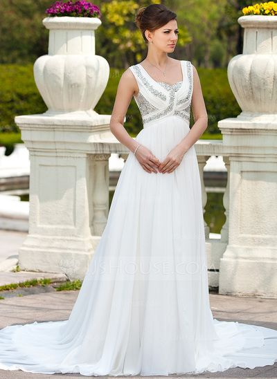 Wedding Dresses - $197.69 - A-Line/Princess Sweetheart Chapel Train Chiffon Wedding Dress With Ruffle Beading (002011673) http://jjshouse.com/A-Line-Princess-Sweetheart-Chapel-Train-Chiffon-Wedding-Dress-With-Ruffle-Beading-002011673-g11673