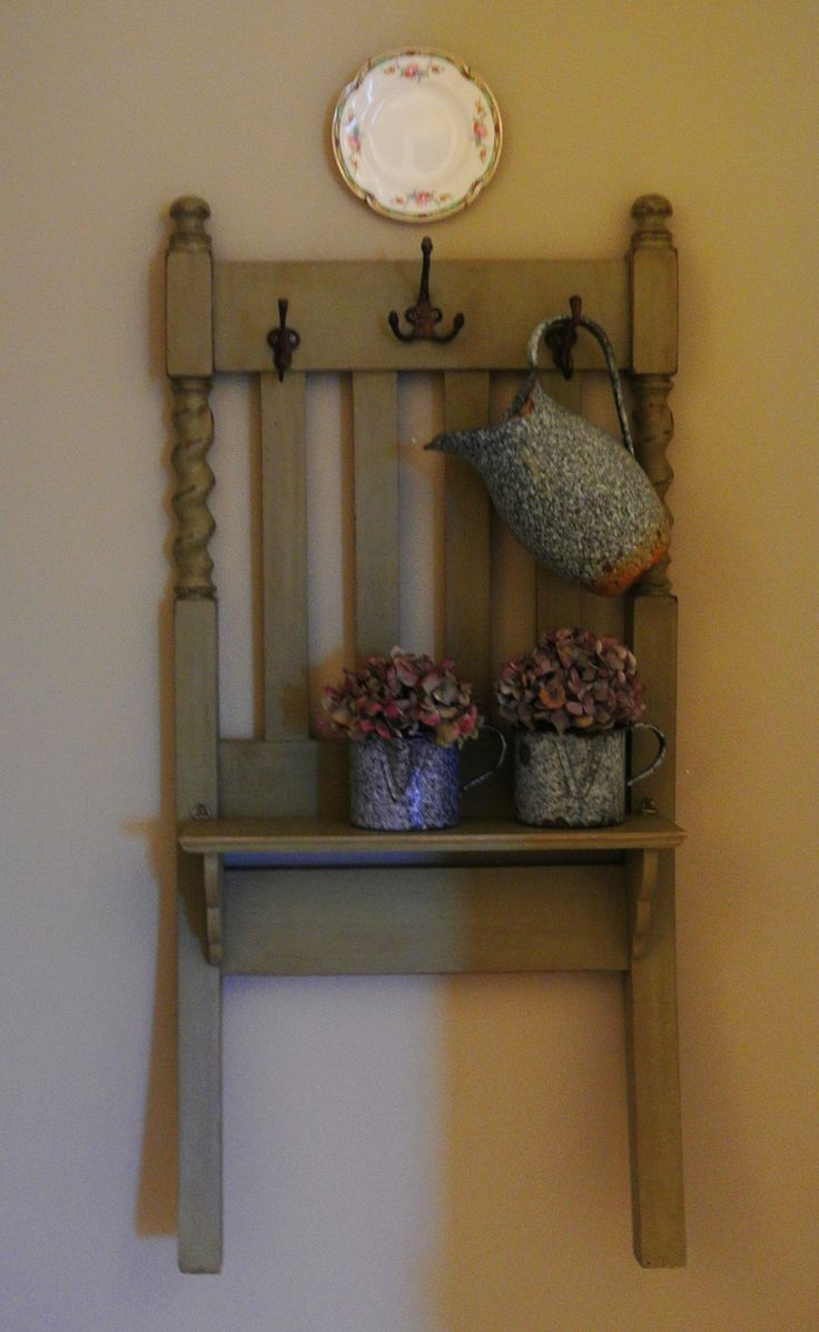 Upcycled Chair Old Chair Shelf Repurposed Chair Back