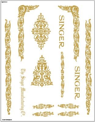 Decals for Singer 66/99 Filigree  Restoration - Waterslide Transfer - Gold Metallic