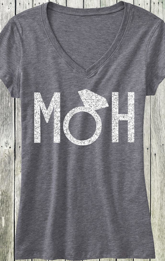 The Perfect Shirt for the MAID of HONOR or MATRON OF HONOR! MOH Silver Glitter Shirt at www.MrsBridalShop.com, click here to buy https://mrsbridalshop.com/products/moh-maid-of-honor-shirt-with-silver-glitter-print-gray-v-neck