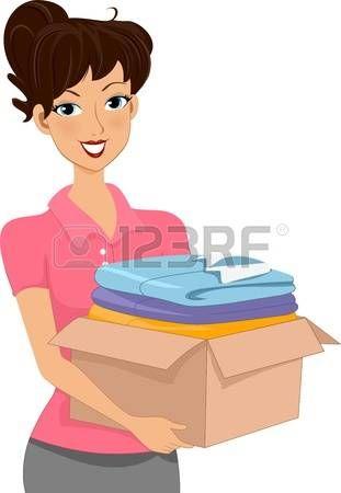 Ilustración de una mujer que llevaba una caja de donaciones de ropas