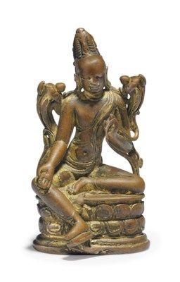 A GILT BRONZE FIGURE OF LOKANATHA AVALOKITESHVARA NORTHEAST INDIA, PALA PERIOD, 11TH CENTURY