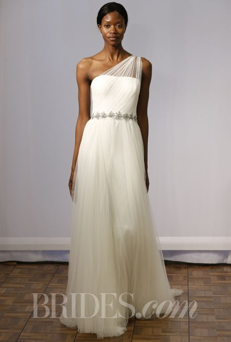 Brides.com: Rosa Clará - Spring 2014. One-shoulder A-line wedding dress with ruched bodice and tulle skirt, Rosa Clará