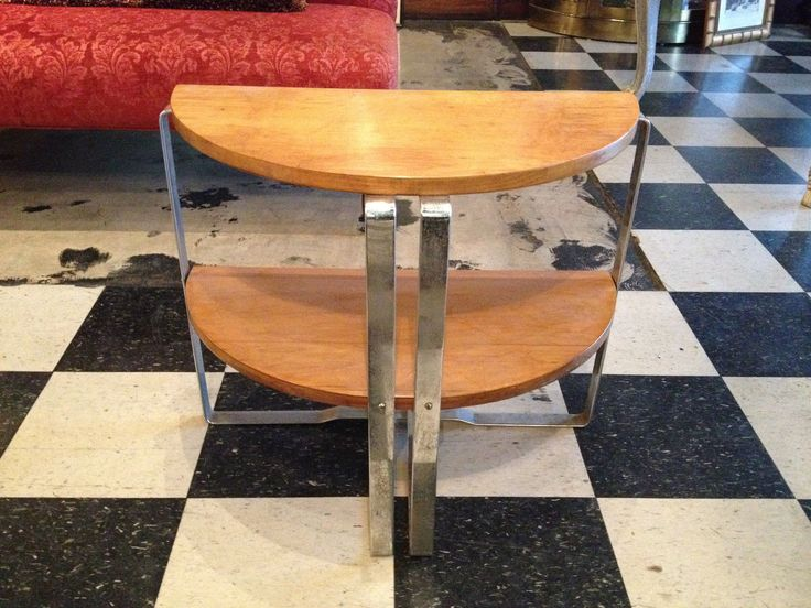 vintage antique art deco period howell tier demi lune wood u chrome table with table demi lune. Black Bedroom Furniture Sets. Home Design Ideas