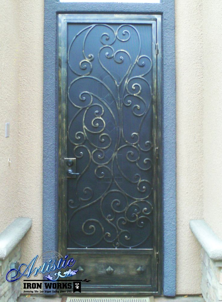 Wrought iron security door sd0094 wrought iron for Wrought iron security doors