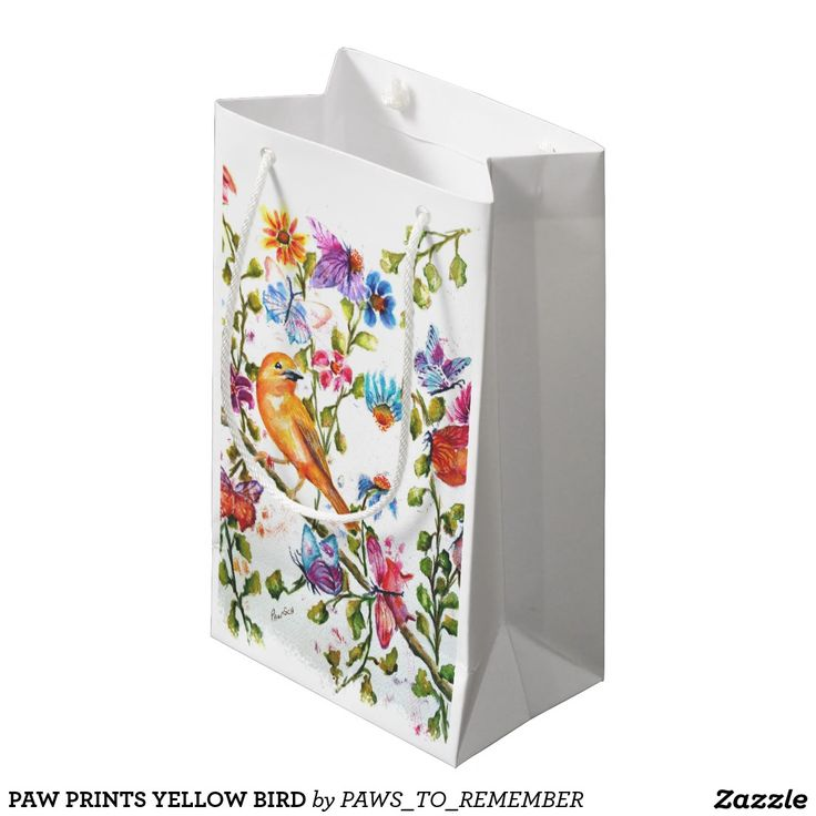 PAW PRINTS YELLOW BIRD SMALL GIFT BAG Wow how fun are these gift packaging ideas – bags, tqags, wrapping paper, tissue paper and more – Impress your friends and family with packaging that is as original as you are and as original as my watercolor paintings – each flower, each girlfriend, each paw-print carries my heart and soul.  Check out www.fancifulwatercolors.ca for more information