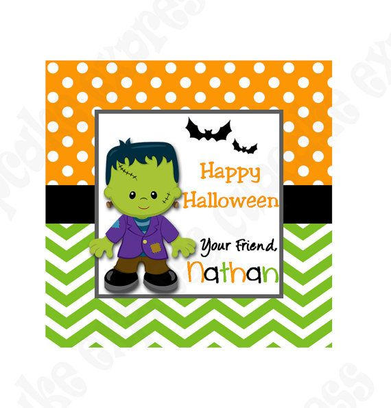 DIY Halloween  Personalized Gift Tag PRINTABLE by CupcakeExpress favor tags #halloween frankenstine