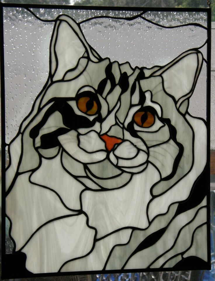 Stained Glass Cat Panel | eBay