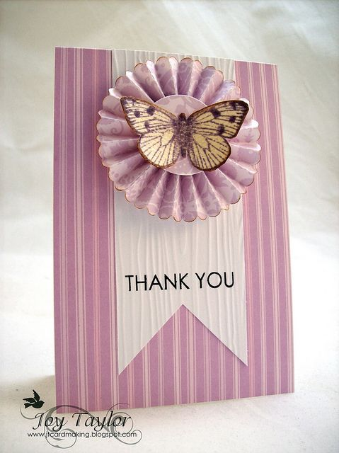♥♥ #butterflies #punch: Cards Ideas, Cases Study, Cards Butterflies Rosette, Challenges June, Rosette Cards, Joy Taylors, Butterflies Cards, Study Challenge, Thanks You Cards